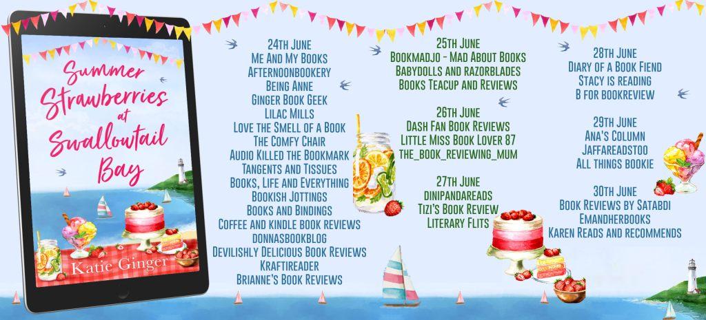 Summer Strawberries at Swallowtail Bay blog tour schedule