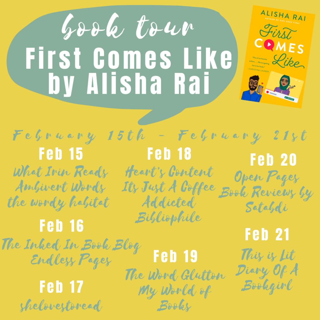 First Comes Like by Alisha Rai blog tour schedule