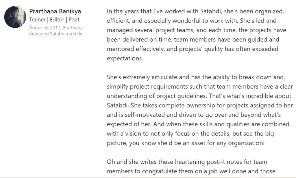 Client testimonial for team management