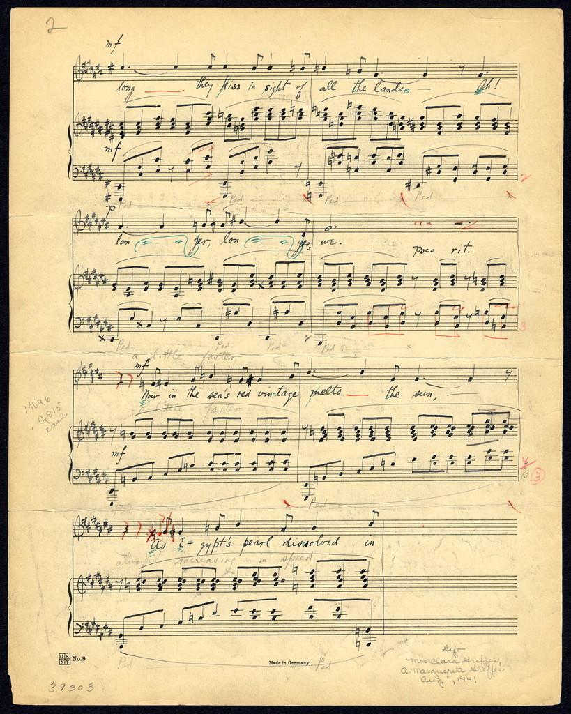 Holograph music sheet
